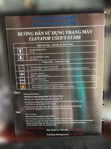 Biển hướng dẫn sử dụng thang máy