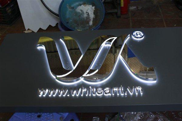 Logo,bộ chữ White ant hút nổi mạ Crom